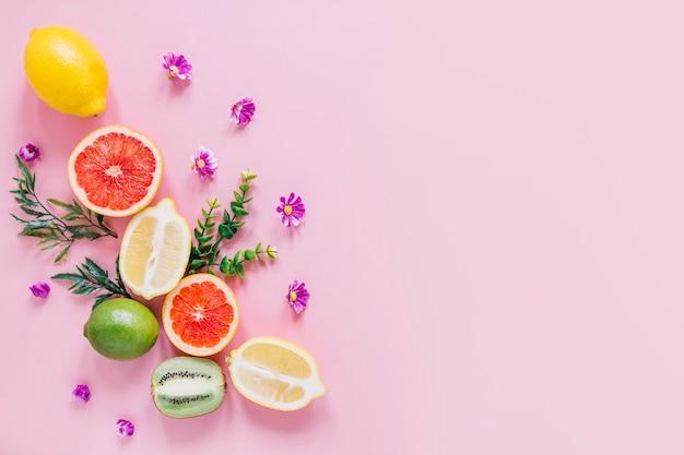 Kleine blumen und blätter in der nähe von zitrusfrüchten Kostenlose Fotos
