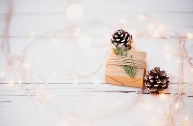Kleine geschenkverpackung in der nähe von baumwollern und beleuchteten lichterketten Kostenlose Fotos