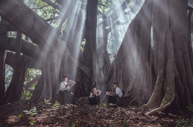 Kleiner asiatischer junge, der ein buch unter großem baum in den ländlichen gebieten liest Premium Fotos