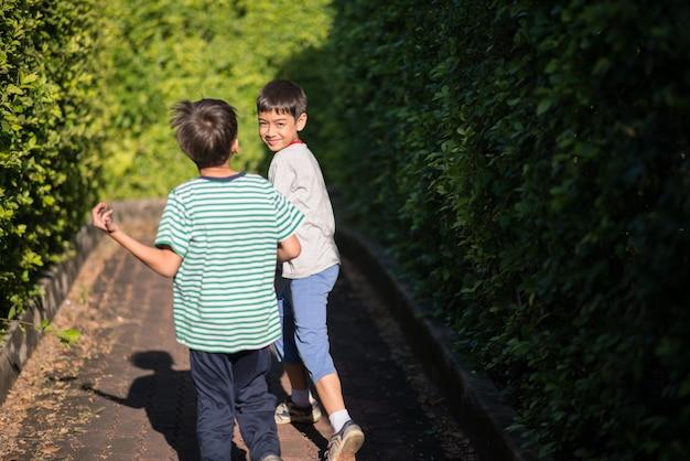 Kleiner geschwisterjunge, der zusammen in grünen park der öffentlichkeit geht Premium Fotos