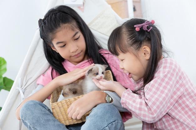 Kleines mädchen, das zu hause mit katze, freundschiffskonzept spielt. Premium Fotos