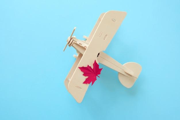 Kleines spielzeugflugzeug mit herbstblatt. herbst-konzept Premium Fotos