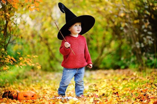 Kleinkindjunge im spitzen hut, der draußen mit magischem stab spielt. kleiner zauberer Premium Fotos