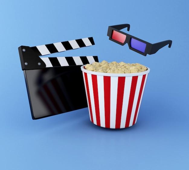 Klöppelbrett des kinos 3d, popcorn und gläser 3d. Premium Fotos