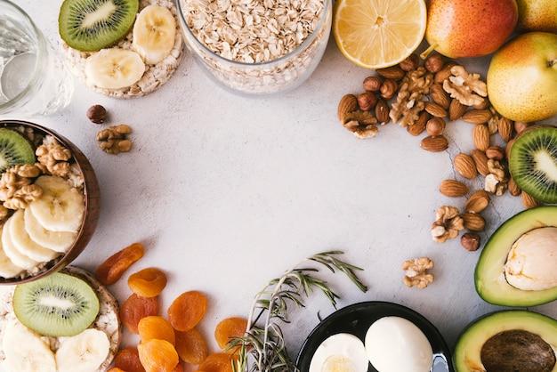 Köstlicher frühstücksnahrungsrahmen der draufsicht Kostenlose Fotos