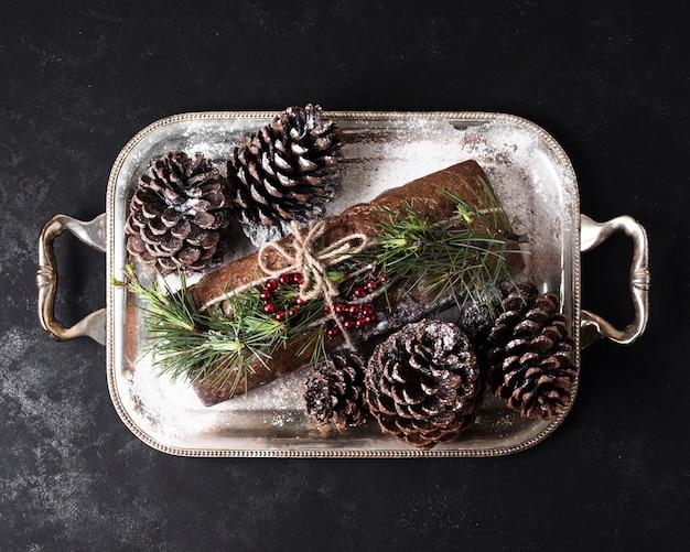 Köstlicher kuchen der draufsicht gemacht speziell für weihnachten Kostenlose Fotos