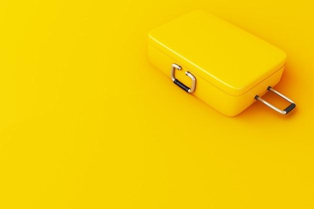 Koffer der reise 3d auf gelbem hintergrund. Premium Fotos