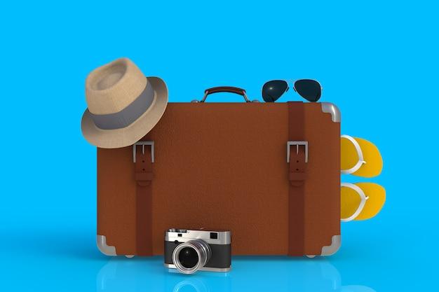 Koffer eines reisenden mit strohhut und retro- filmfotokamera, wiedergabe 3d Premium Fotos