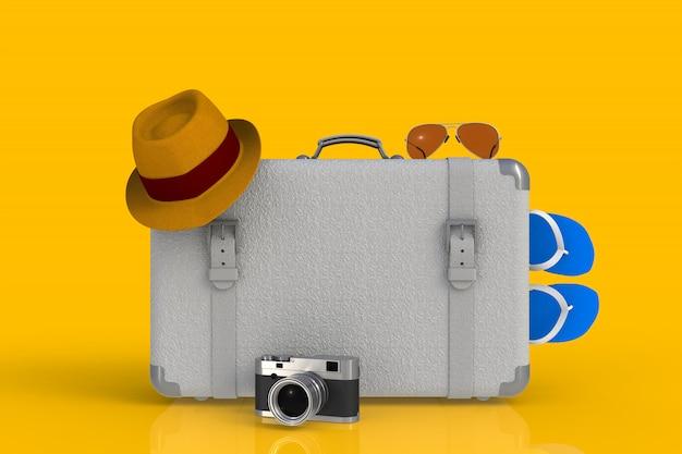 Koffer eines reisenden mit strohhut und retro- filmfotokamera Premium Fotos
