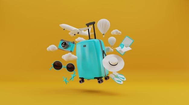 Koffer mit hatte und andere reiseutensilien, 3d-rendering. Premium Fotos