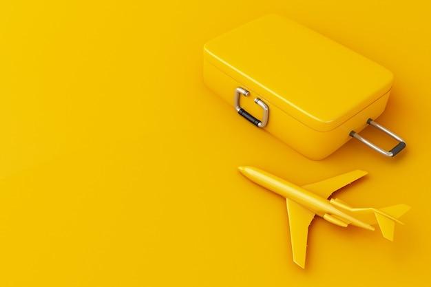 Koffer und flugzeug der reise 3d. reise-konzept. Premium Fotos
