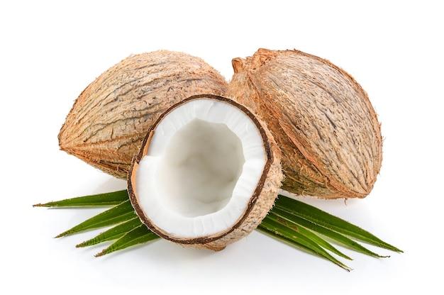 Kokosnüsse mit dem blatt lokalisiert auf dem weißen hintergrund Premium Fotos