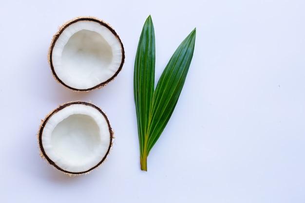 Kokosnuss mit blatt auf weißem hintergrund. Premium Fotos