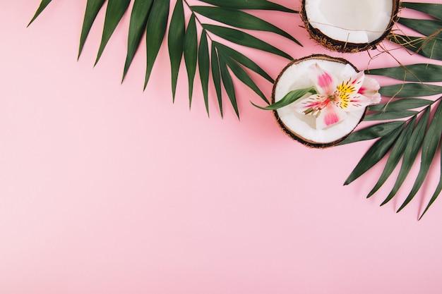 Kokosnuss mit blumenastroemeria um palmblätter auf einem rosa hintergrund Premium Fotos