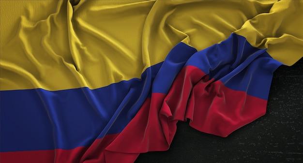 Kolumbien fahne geknittert auf dunklem hintergrund 3d render Kostenlose Fotos