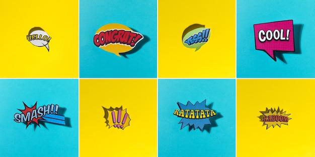 Komische spracheblasen stellten mit verschiedenen gefühlen und text auf gelbem und blauem hintergrund ein Kostenlose Fotos
