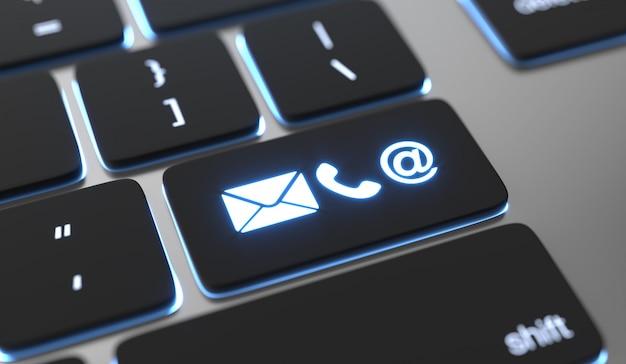 Kontaktsymbole auf der tastatur. online-kontaktkonzept. Premium Fotos