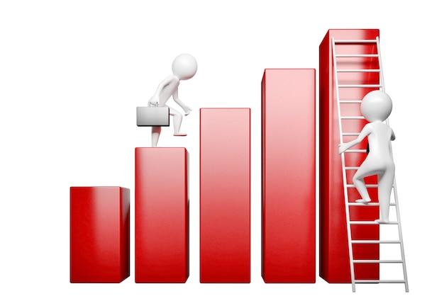 Konzept auf dem thema der illustration des karrierewachstums 3d Premium Fotos