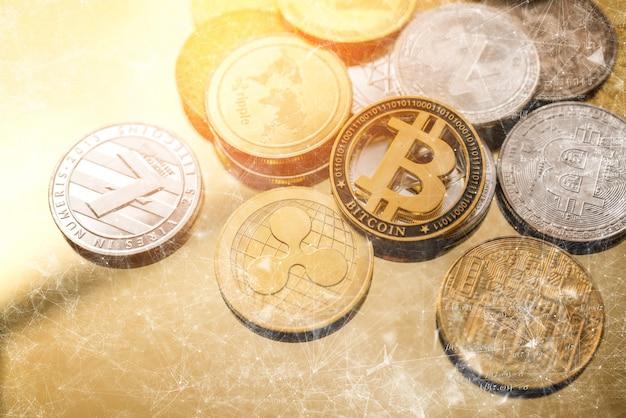 Konzept-bitcoin der blockchain-kryptowährungsgeschäftsstrategie Premium Fotos