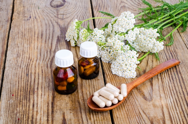 Konzept der traditionellen medizin, heilpflanzen und kräuterkapseln Premium Fotos