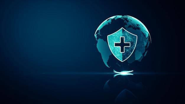 Konzept des schutzes des medizinischen gesundheitssystems von global network. futuristisches medizinisches gesundheitsschutzschildsymbol mit leuchtendem drahtgitter über vielfachem auf dunkelblau. Premium Fotos