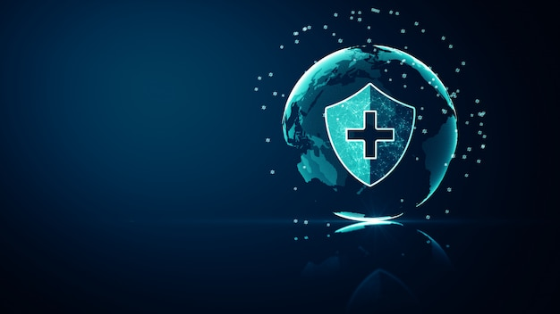 Konzept des schutzes des medizinischen gesundheitssystems von global network. futuristisches medizinisches gesundheitsschutzschildsymbol mit leuchtendem drahtgitter über vielfachem auf dunkelblauem hintergrund. Premium Fotos