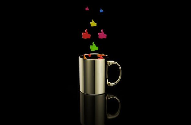 Konzept einer heißen tasse kaffee mit daumen Premium Fotos