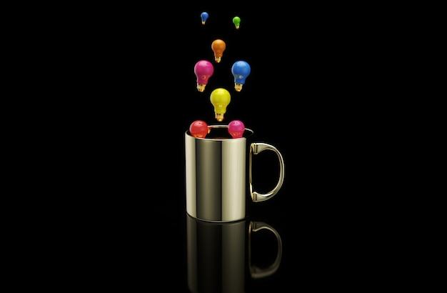 Konzept einer heißen tasse kaffee mit glühbirnen Premium Fotos