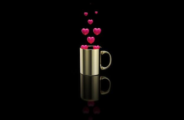 Konzept einer heißen tasse kaffee mit herzen Premium Fotos