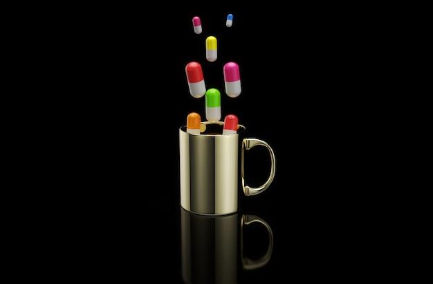 Konzept einer heißen tasse kaffee mit pillen Premium Fotos