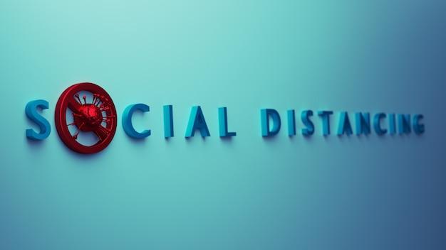 Konzept zur verhinderung sozialer infektionen. menschen praktizieren soziale distanzierung, um sich vor dem konzept der ausbreitung des covid-19-coronavirus-ausbruchs zu schützen. 3d-rendering. Premium Fotos