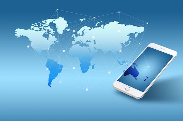 Konzepthintergrund der globalisierung oder des sozialen netzes mit neuer generation des handys Premium Fotos