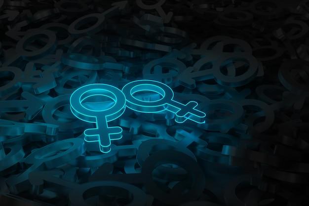 Konzeptkunst zum thema der gleichgeschlechtlichen liebes-3d-illustration Premium Fotos