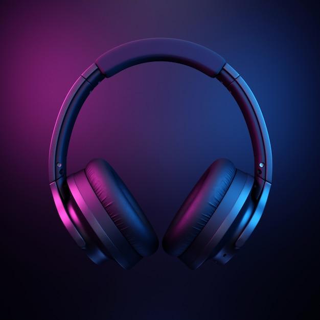 Kopfhörer auf dunklem schwarzem hintergrund Premium Fotos