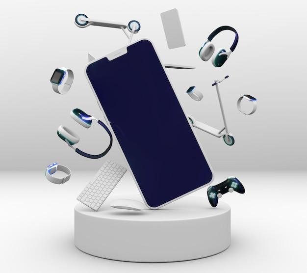 Kopfhörer und telefon für cyber montag Premium Fotos