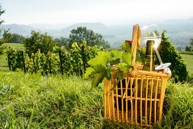 Korb mit flaschen und glas weißwein in den weinbergen Premium Fotos