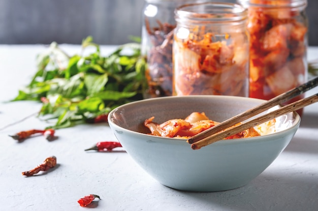 Koreanische vorspeise kimchi Premium Fotos