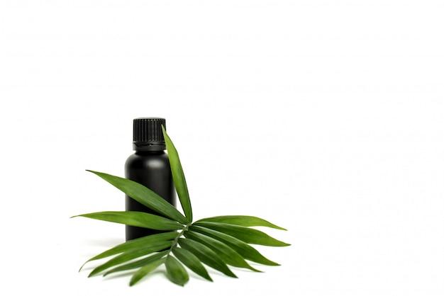 Kosmetikflasche. schwarzes plastikglas für öl mit grünem palmblatt. Premium Fotos