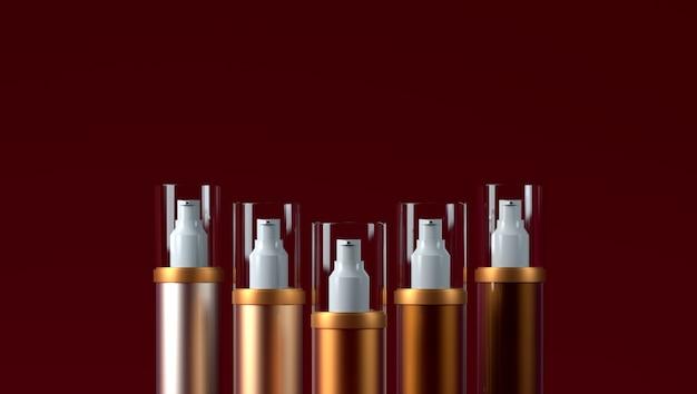 Kosmetikverpackungskonsealer auf einer roten concealer-farbpalette Premium Fotos