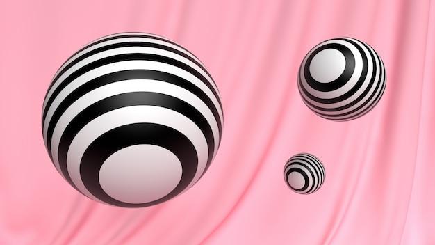 Kosmetischer ball der abstrakten tapete 3d schwarzweiss auf rosa Premium Fotos