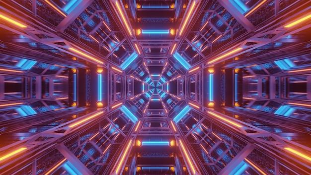 Kosmischer hintergrund mit blauen und orange laserlichtern Kostenlose Fotos