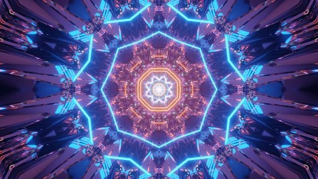 Kosmischer hintergrund mit blauen und orangefarbenen laserlichtmustern - perfekt für eine digitale tapete Kostenlose Fotos