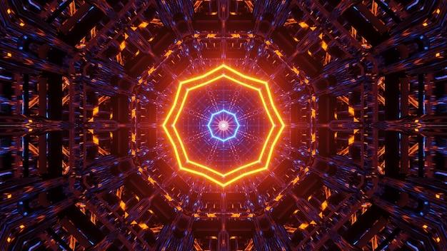 Kosmischer hintergrund mit blauen und orangefarbenen laserlichtmustern Kostenlose Fotos