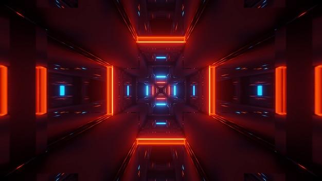 Kosmischer hintergrund mit bunten roten und blauen laserlichtern - perfekt für eine digitale tapete Kostenlose Fotos