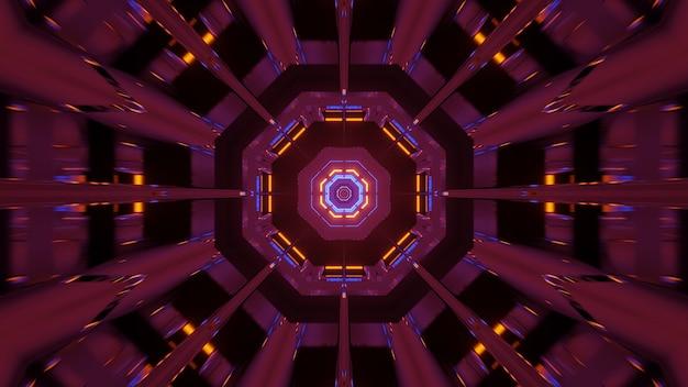 Kosmischer hintergrund mit rosa orange und blauen laserlichtern Kostenlose Fotos