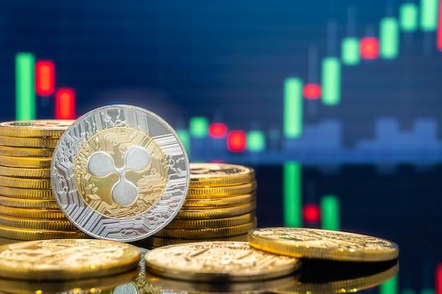 Kräuselungs- und kryptowährungsinvestitionskonzept. Premium Fotos