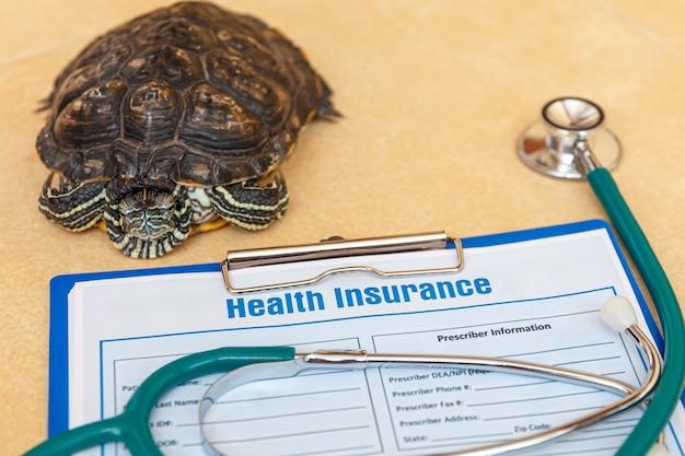 Krankenversicherung mit versicherungsanspruch aus stethoskop und redeared turtle Premium Fotos