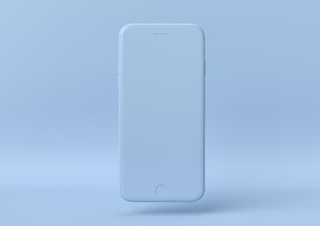 Kreative minimale sommeridee. blaues iphone des konzeptes mit pastellhintergrund. 3d rendern Premium Fotos