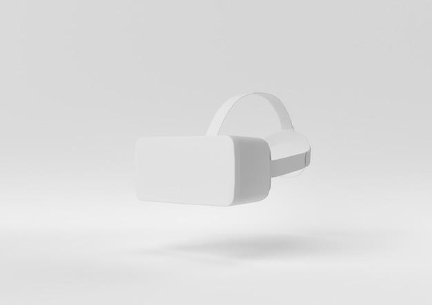Kreative minimalpapieridee. konzept weißes vr mit weißem hintergrund. 3d übertragen, abbildung 3d. Premium Fotos