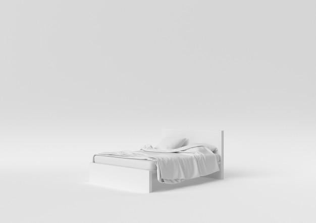 Kreative minimalpapieridee. weißes bett des konzeptes mit weißem hintergrund. 3d übertragen, abbildung 3d. Premium Fotos